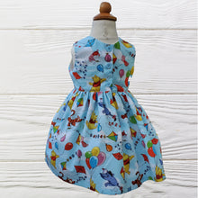 Load image into Gallery viewer, WINNIE the POOH  Dress  Sleeveless or Flutter sleeve Winnie the Pooh Birthday dress Winnie and Friends girls dress Handmade in USA