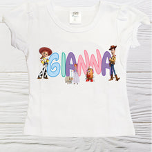 Load image into Gallery viewer, Toy Story Woody and friends Girls birthday shirt - Personalized boys shirt -Girls first name Toy Story shirts