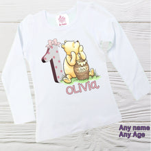 Load image into Gallery viewer, POOH BIRTHDAY SHIRT - Girls Classic  Pooh  shirt -  Personalized baby shirt -  Graphic Classic Pooh shirt - Girls shirts - Custom shirts