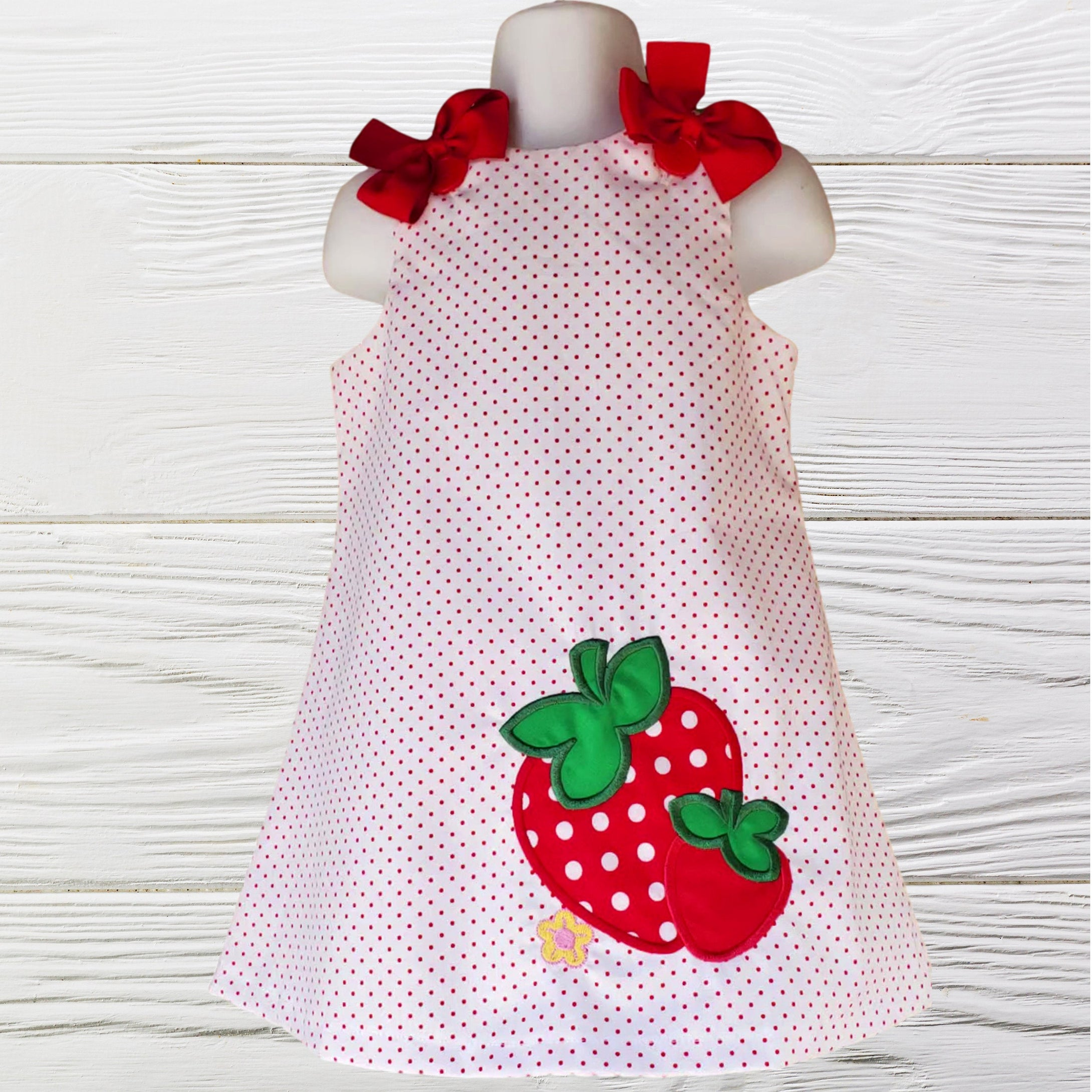Strawberry dress - Birthday Strawberry polka dots dress - Girls personalized Strawberry dress - A-line Strawberry toddler dress