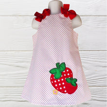 Load image into Gallery viewer, Strawberry dress - Birthday Strawberry polka dots dress - Girls personalized Strawberry dress - A-line Strawberry toddler dress