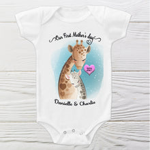 Load image into Gallery viewer, Our First Mothers day Onesie   Cute Giraffe baby personalized Onesie