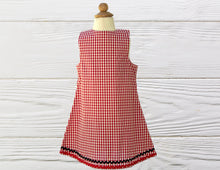 Load image into Gallery viewer, Lady Bug dress Birthday dress Gingham dress Lady Bug gingham dress A-Line dress
