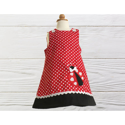 LADYBUG GIRLS DRESS  Ladybug polka dots dress  Birthday dress Ladybug personalized dress