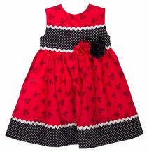 Load image into Gallery viewer, MICKEY PRINT DRESS  Mickey Mouse girl dress Black and Red Mickey dress
