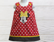 Load image into Gallery viewer, MINNIE BABY OUTFIT - Minnie Mouse Dress - Dress For Baby Girl - Handmade Baby Dress - Minnie Baby Outfit - Polka Dot Dress