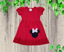 Load image into Gallery viewer, MINNIE BIRTHDAY DRESS Pull over Red Minnie inspired dress Birthday dress Personalized dress  Knit Dress Toddler dress