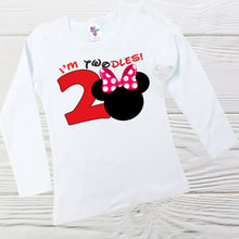 Load image into Gallery viewer, MINNIE BIRTHDAY SHIRT - Minnie towdles birthday shirt - Girls  Minnie Mouse shirt - Disney shirts - Little Girls shirts