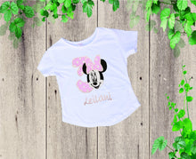 Load image into Gallery viewer, Birthday short shirt outfit  Personalized outfit Minnie inspired outfit Ruffle short outfit Girls clothes