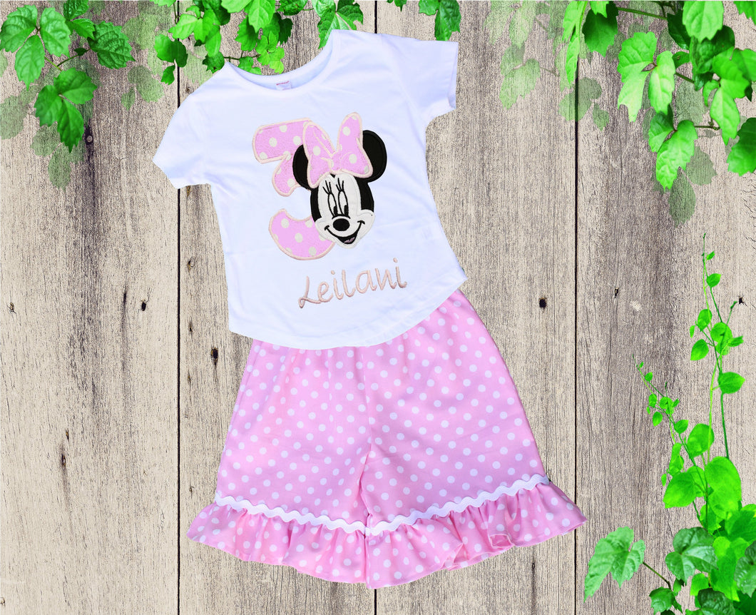 Birthday short shirt outfit  Personalized outfit Minnie inspired outfit Ruffle short outfit Girls clothes