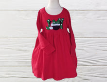 Load image into Gallery viewer, MINNIE CHRISTMAS DRESS  Christmas Empire dress Long Sleeve Christmas dress