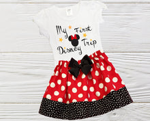Load image into Gallery viewer, Minnie First Trip Girls Minnie outfit My first trip to Disney outfit Toddler Minnie Disney trip