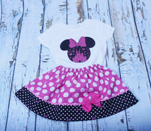 Load image into Gallery viewer, Minnie Mouse birthday outfit Minnie baby dress. Toddler  Minnie outfit Minnie shirt skirt First trip to Disney outfit