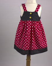 Load image into Gallery viewer, RED BLACK DRESS - Minnie Mouse Dress - Polka Dot Dress - Minnie Baby Outfit - Girls Birthday Dress - Kid Embroidery Dress