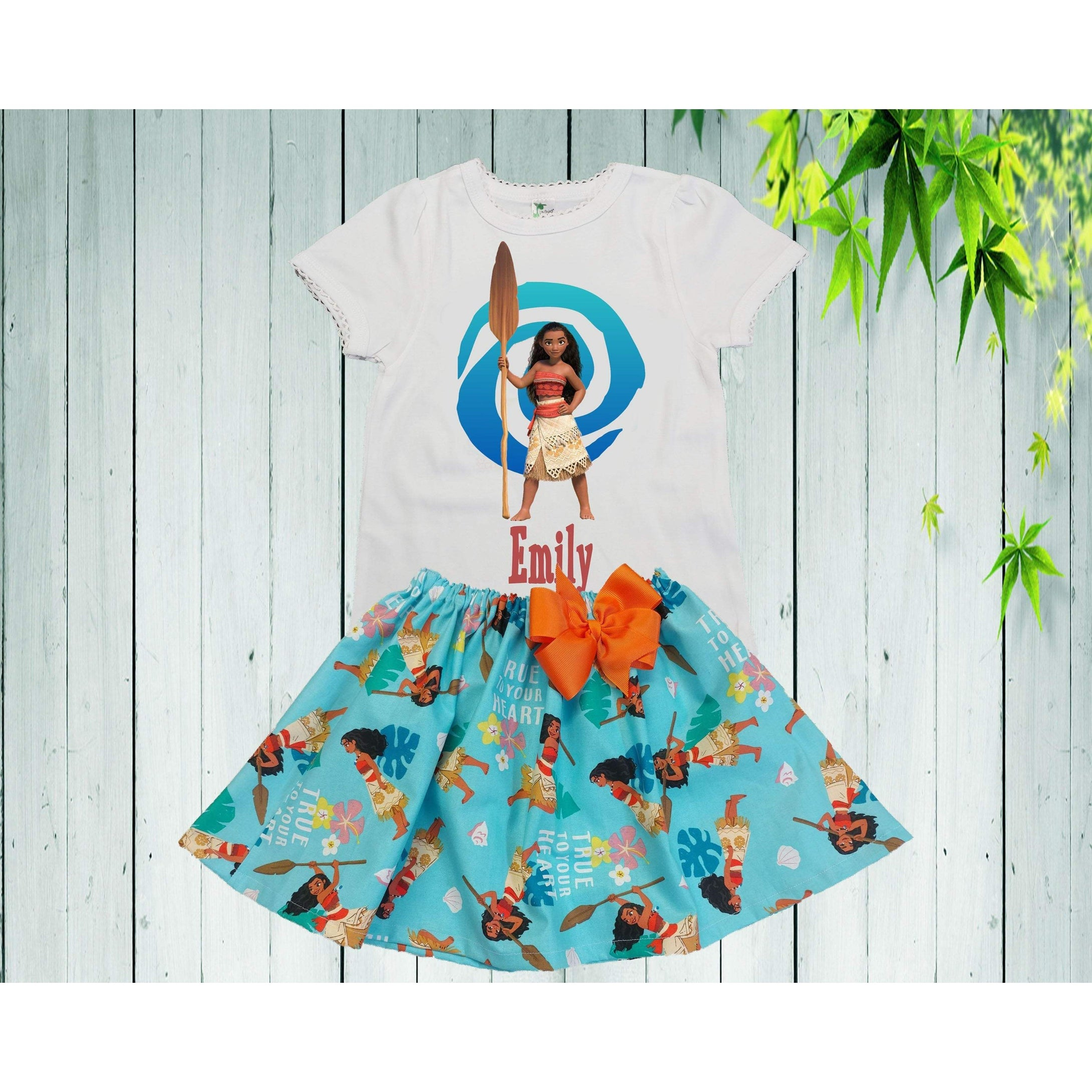 bele-kids-fashions,Girls Moana outfit Birthday dress toddler first birthday Princess Moana inspire outfit personalized outfit.