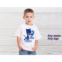 Load image into Gallery viewer, One boys birthday shirt  Boys PJ Mask personalized shirts Boys PJ Mask shirt
