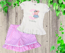 Load image into Gallery viewer, Peppa Pig shorts  outfit Peppa shorts birthday outfit Girls shorts set