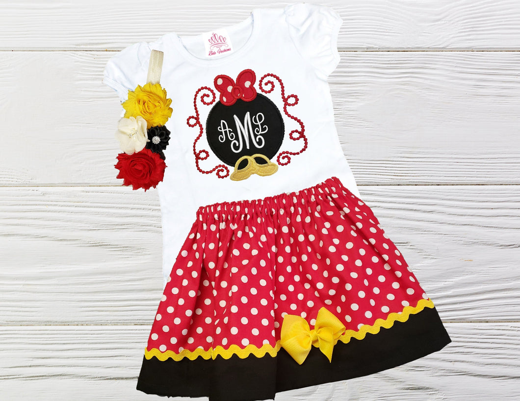 Personalized birthday outfit Girls  Birthday dress Minnie inspired  outfit