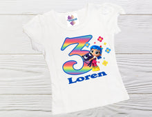 Load image into Gallery viewer, Personalized Girls True and the Rainbow Kingdom Birthday shirt Girls True Rainbow Kingdom shirt