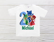 Load image into Gallery viewer, PJ Masks  boys shirts. PJ Masks personalized shirts. Boys PJ Mask custom shirts