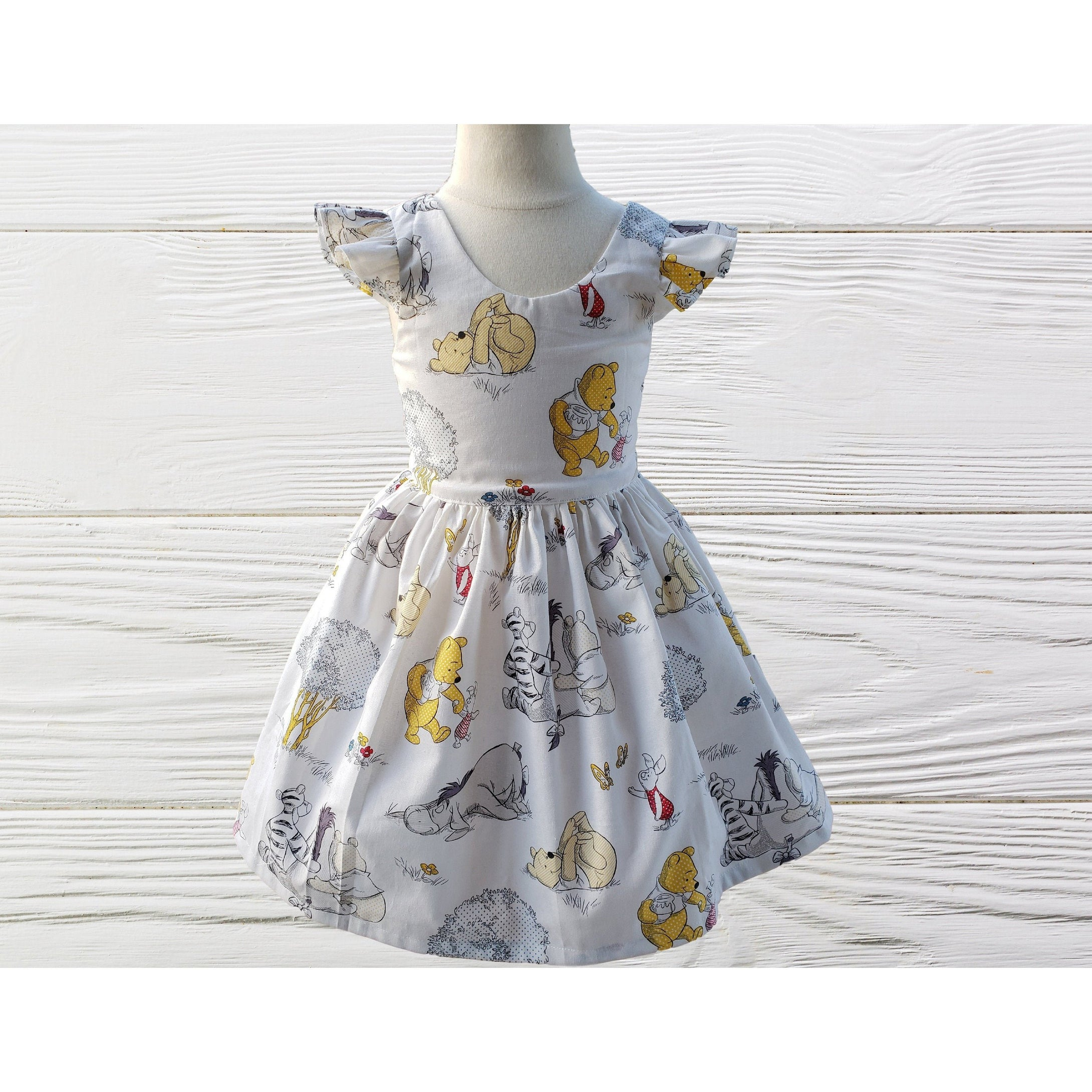 POOH BEAR DRESS Birthday Party Dress - Cute Princess Dress Baby Girl Outfits