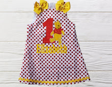 Load image into Gallery viewer, POOH BEAR DRESS - Polka Dots Dress - Embroidered Dress - Baby Girl Outfits - Pooh Baby Dress - 1st Birthday Gift - Infant Girl Dresses