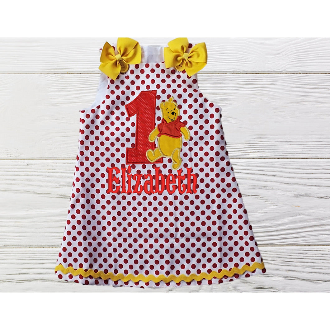 POOH BEAR DRESS - Polka Dots Dress - Embroidered Dress - Baby Girl Outfits - Pooh Baby Dress - 1st Birthday Gift - Infant Girl Dresses
