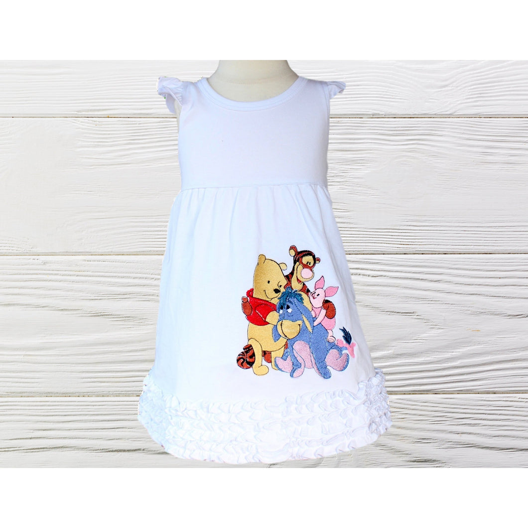POOH BIRTHDAY DRESS - Girls Birthday dress -  Pooh and friends pullover dress Toddler Pooh birthday dress