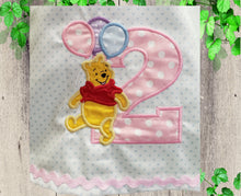 Load image into Gallery viewer, POOH BIRTHDAY DRESS Personalized girls dress Birthday  baby dress girls Pooh bear dress  First birthday Toddler Pooh A-line  dress