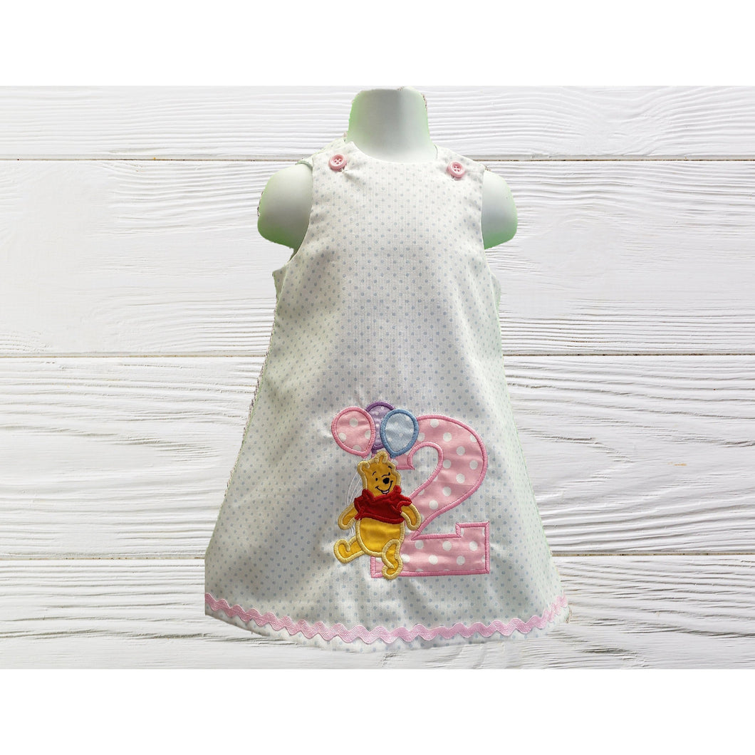 POOH BIRTHDAY DRESS Personalized girls dress Birthday  baby dress girls Pooh bear dress  First birthday Toddler Pooh A-line  dress