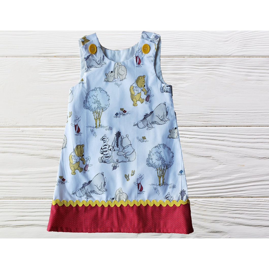 Pooh birthday dress Toddler  Pooh dress Pooh jumper dress