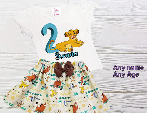 SIMBA BIRTHDAY OUTFIT toddler outfit Girl Lion King Simba outfit Personalized outfit