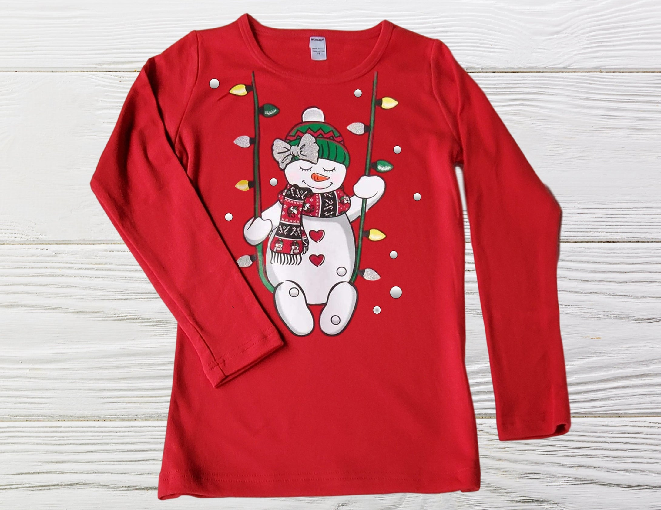 SNOWMAN ON SWING  Red shirt, Christmas Shirt, Girls Christmas Shirt,