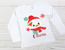Load image into Gallery viewer, Snowman Shirt, Christmas Shirt, Girls Christmas Shirt, Girls Snowman Shirt, Toddler Shirt, Girls Christmas custom shirts