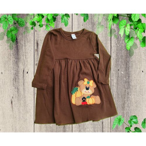 Thanksgiving Dress Bear Pumpkin Applique dress  Knit Dress  Long sleeve dress  Personalized dress