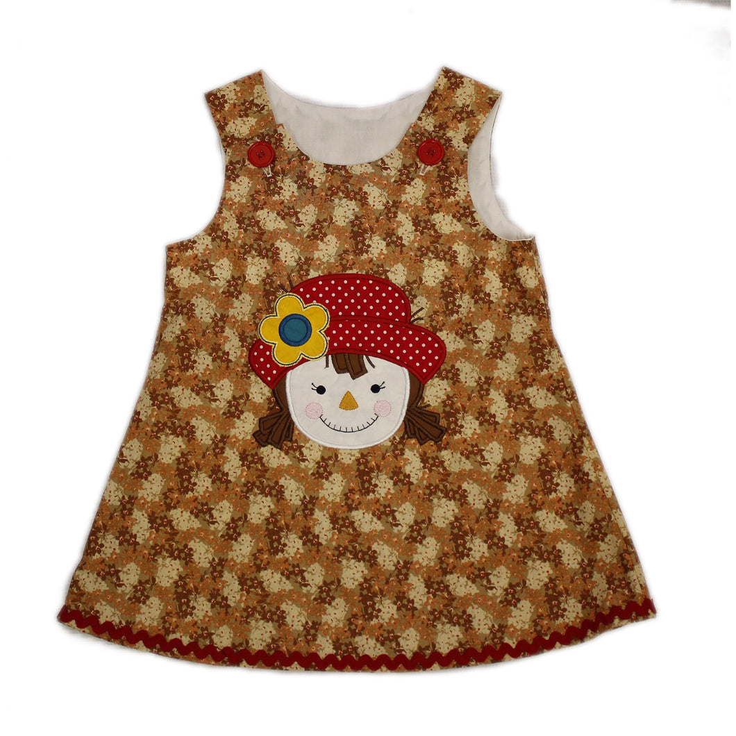 Thanksgiving dress  - Girl scarecrow dress  - Fall baby dress -  Jumper dress  - Fall dress - Sample sale - Ready to Ship