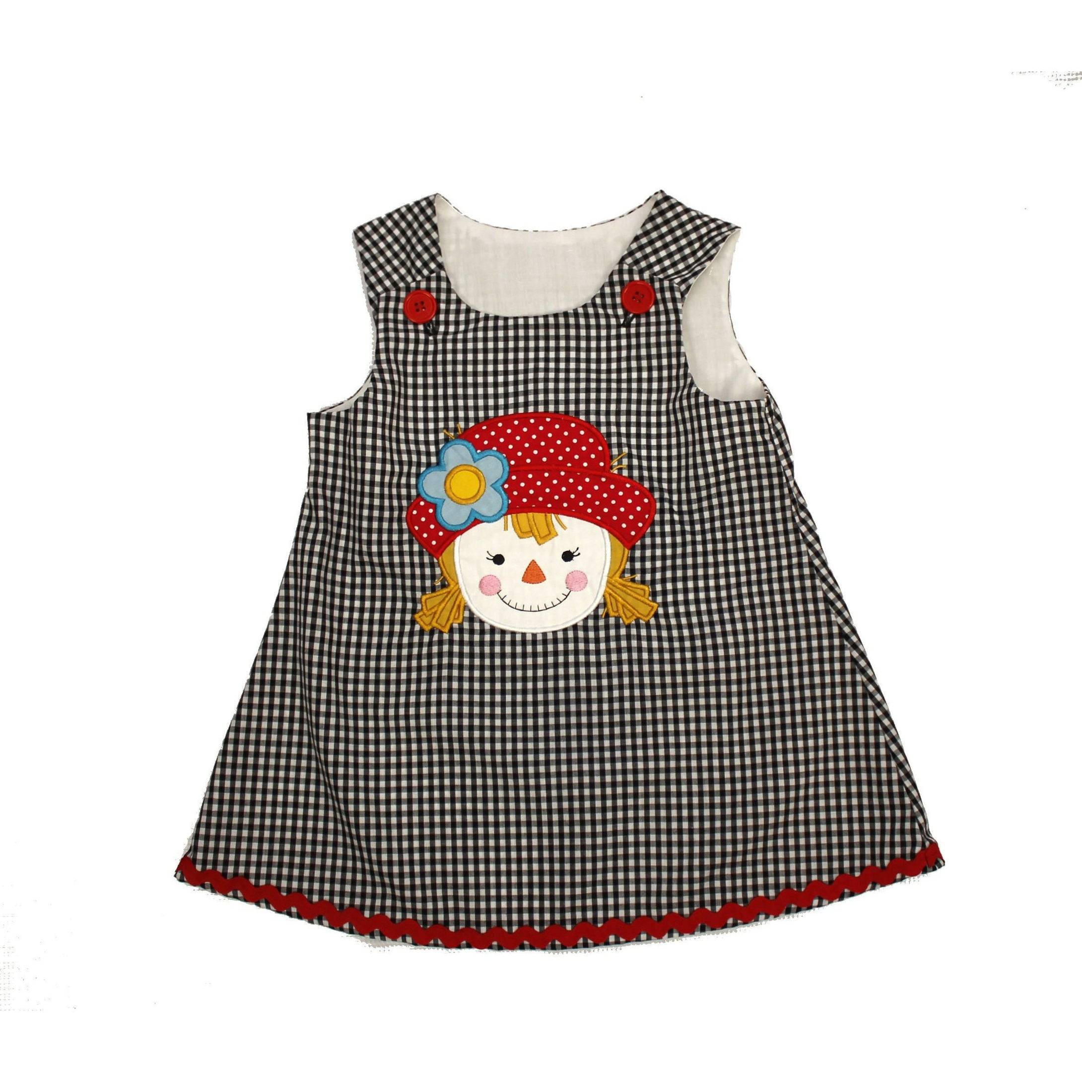 Thanksgiving dress  Scarecrow black gingham dress  Jumper dress Christmas Fall dress - Ready to Ship