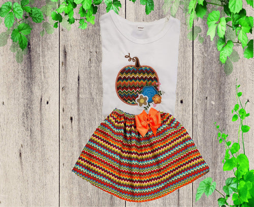 THANKSGIVING OUTFIT - Holiday dress - Girls Thanksgiving dress - Pumpkin outfit - Girls holiday outfit