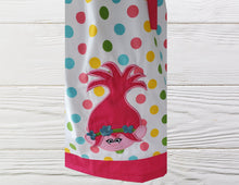 Load image into Gallery viewer, Troll birthday dress Poppy Troll pillow case dress Polka dots Troll  dress Poppy toddler dress