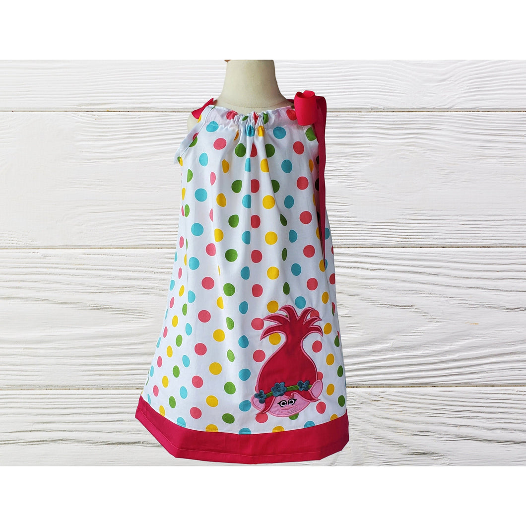 Troll birthday dress Poppy Troll pillow case dress Polka dots Troll  dress Poppy toddler dress