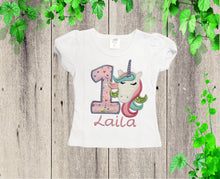 Load image into Gallery viewer, Unicorn girl shirt  birthday unicorn shirt  Custom shirt  Personalized  unicorn shirt
