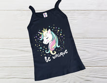 Load image into Gallery viewer, Unicorn shirt-  Girl shirts - Be Unique Unicorn shirt- Birthday shirt - Tank Top Shirts - Toddler shirts - Custom shirts