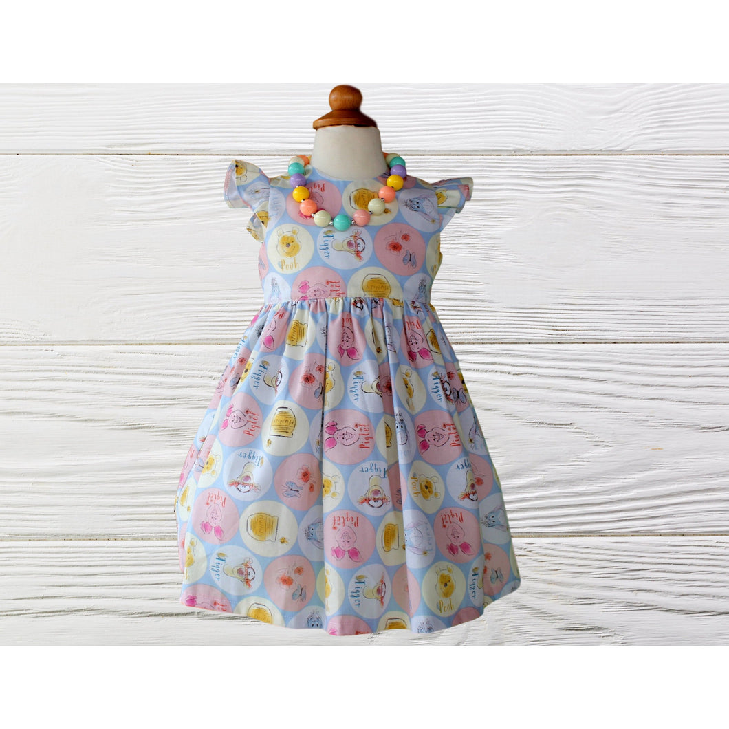 POOH BABY DRESS - Pooh Birthday Dress - Pooh Party Outfit - 1st Birthday Gift - Outfit For Baby Girl - Bear Baby Dress