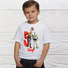 Load image into Gallery viewer, Woody Buzz Toy Story birthday shirt. Personalized boys shirts.
