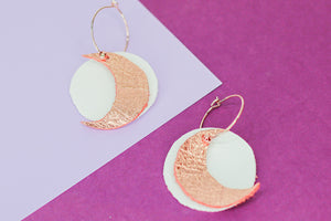 HOPE Handemade Leather Earrings Rose Gold