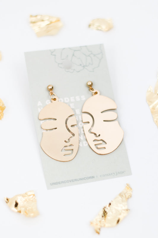 Inner Goddess Gold Dangle Earrings