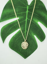 Load image into Gallery viewer, WEIRD IS COOL Monstera palm leave necklace