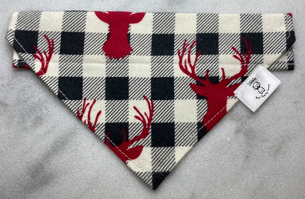 Red Bucks on Black and White Checks