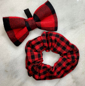 Original Buffalo Plaid Bow Tie & Matching Scrunchie Set