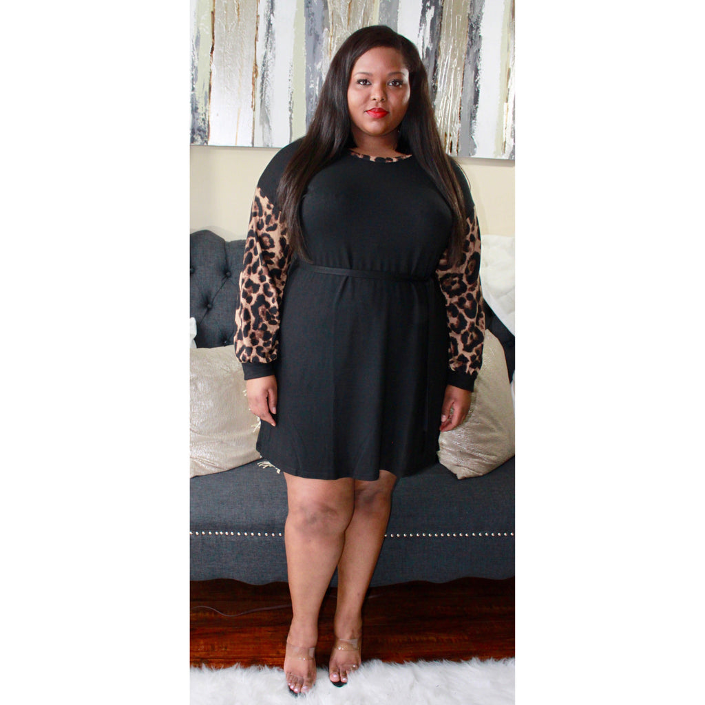 Tammy Black Leopard Long Sleeved Dress